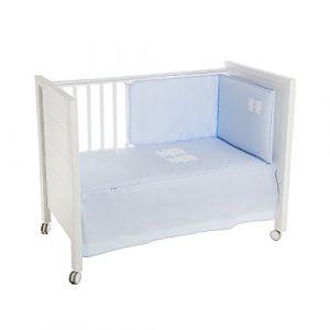 Ensemble dessus de lit et tour de lit bleu ciel